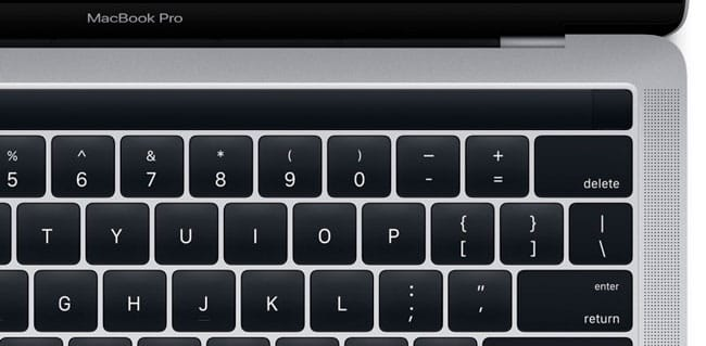 Detalle del nuevo MacBook Pro con Magic Toolbar