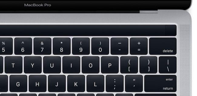 Detalle del nuevo MacBook Pro con Magic Toolbar