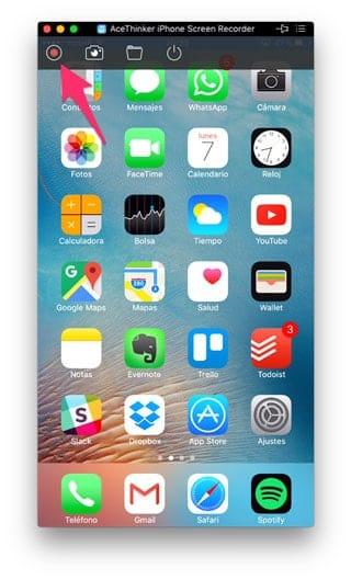 Iniciar grabación pantalla iPhone