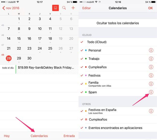 Lista de calendarios