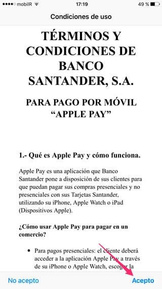 Aceptar términos y condiciones de Apple Pay