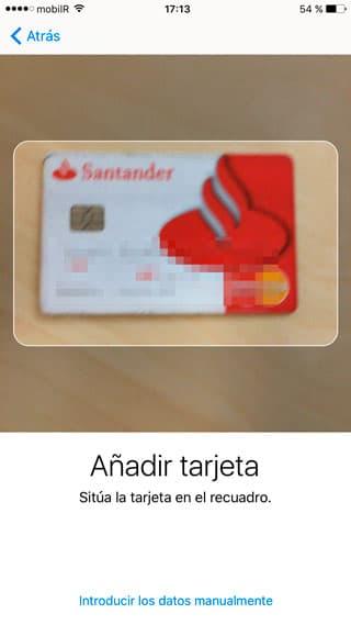 Añadir tarjeta con la cámara