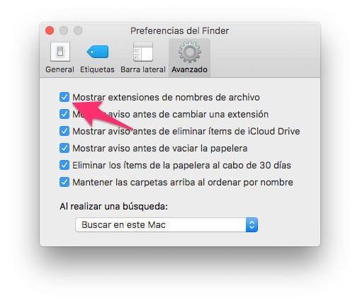 Mostrar extensiones de archivo en Mac