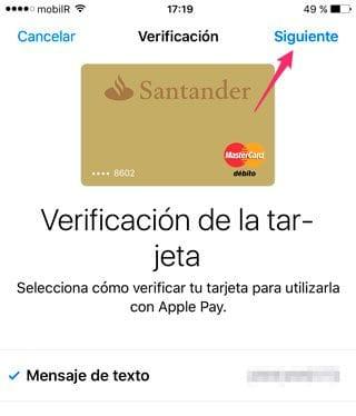 Validar tarjeta por SMS