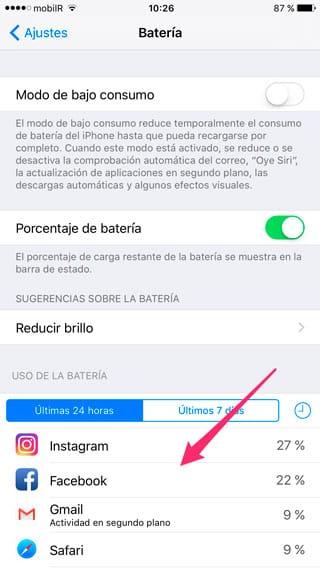Consumo de batería por app en iPhone y iPad