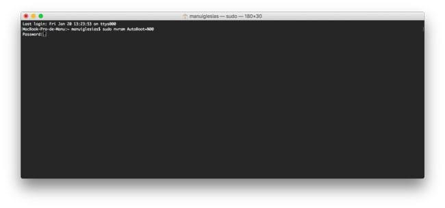 Desactivar encendido al levantar la tapa del MacBook Pro