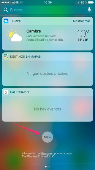 Botón Editar widgets del Centro de Notificaciones