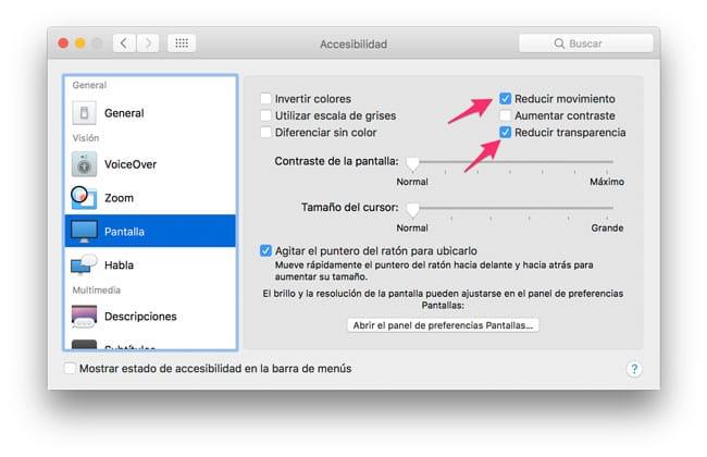 Reducir transparencia y movimiento macOS Sierra