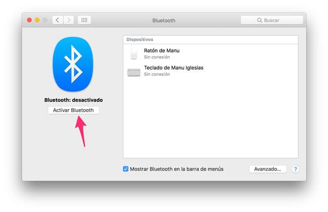 Activar Bluetooth Mac
