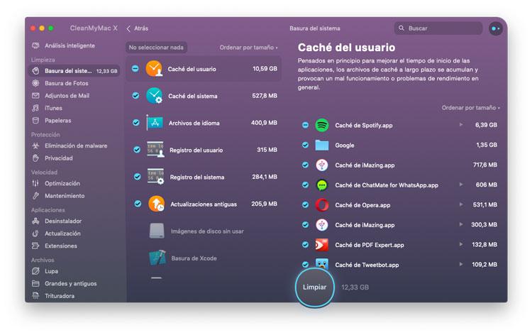 Eliminar caches y archivos temporales