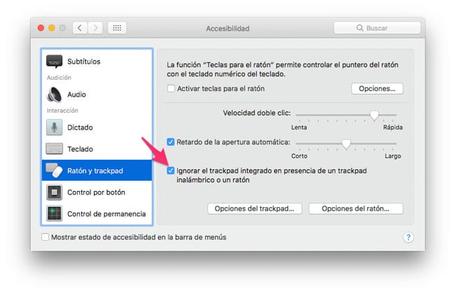 Ignorar el trackpad integrado al conectar un ratón