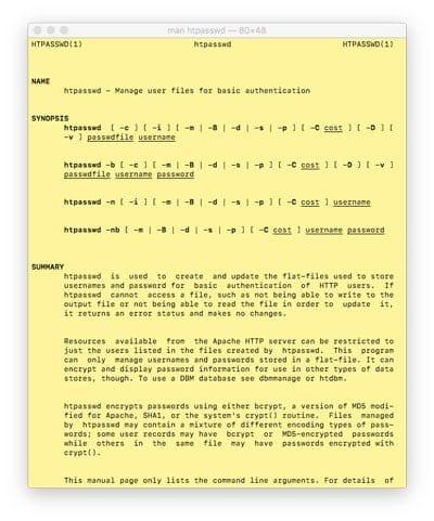 Página man de un comando de Terminal en Mac