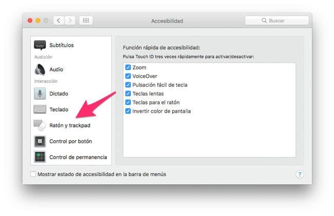 Sección de ratón y trackpad de la accesibilidad de macOS