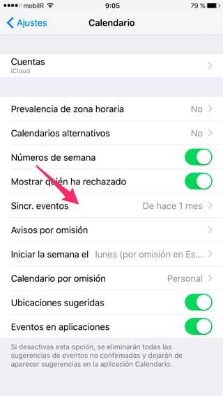Sincronizar eventos de iCloud