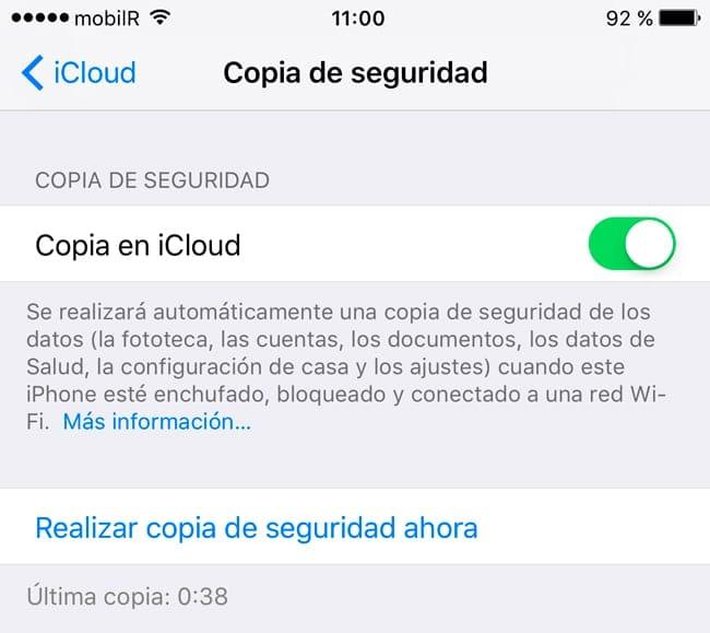 Backup de iPhone en iCloud