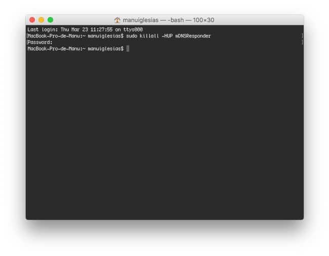 Borrar caché de DNS en Mac