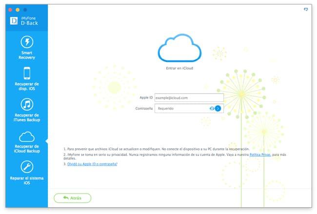 Recuperar datos de un backup de iCloud