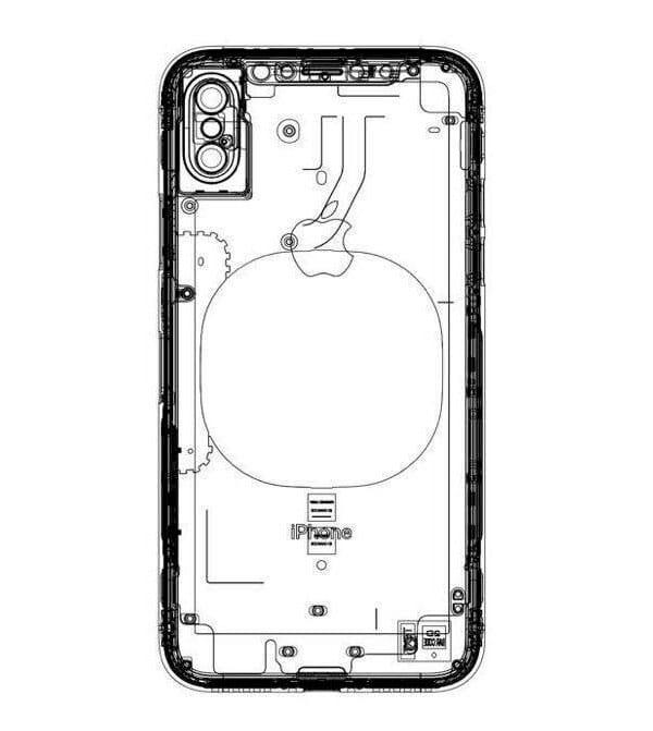 Esquema de iPhone 8 con carga inalámbrica