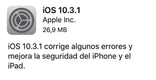 iOS 10.3.1 ya disponible