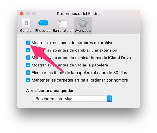 Mostrar extensiones de archivos en Mac