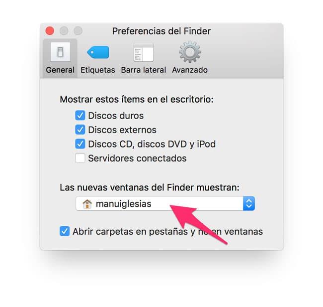 Abrir las nuevas ventanas de Finder en la carpeta del usuario