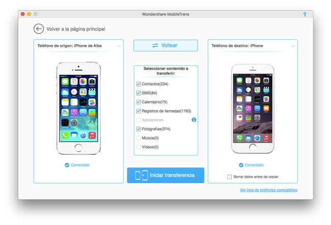 Pasar datos de iPhone a iPhone