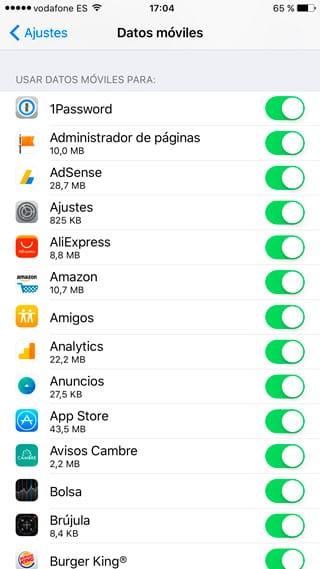 Bloquear acceso datos móviles apps