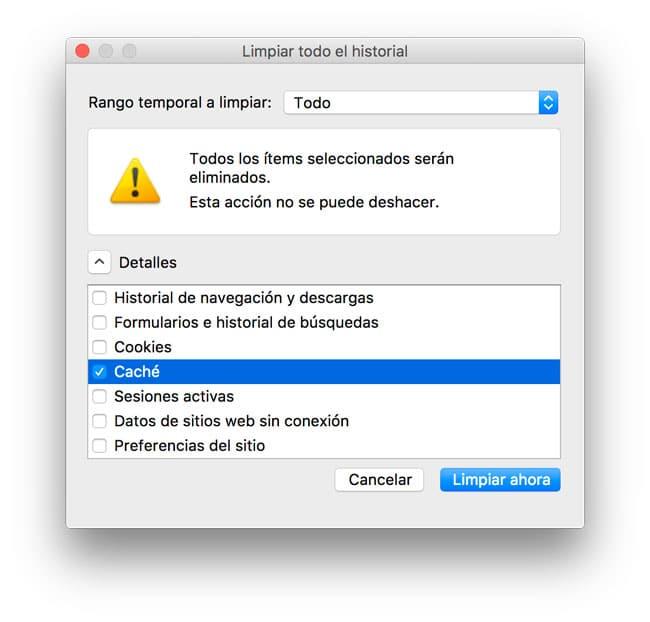 Borrar caché de Firefox