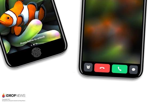 Concepto de iPhone 8 con área de funciones