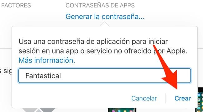 Crear contraseña de app en iCloud