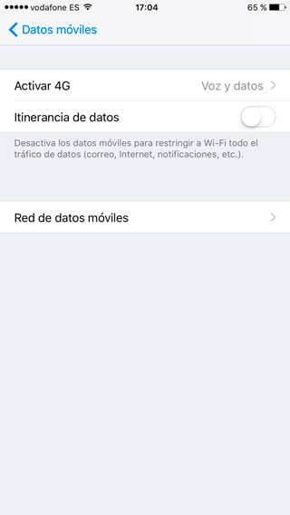Desactivar roaming de datos