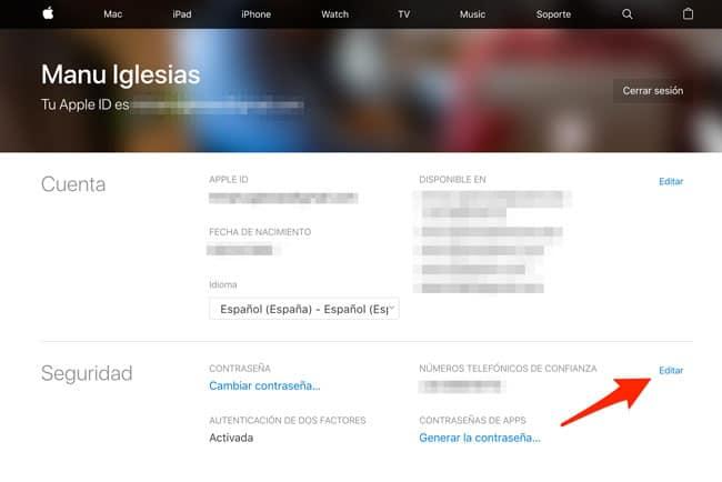 Editar seguridad iCloud
