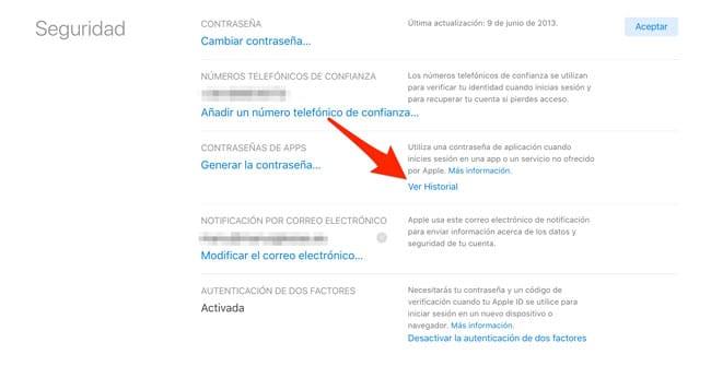 Ver historial passwords apps iCloud