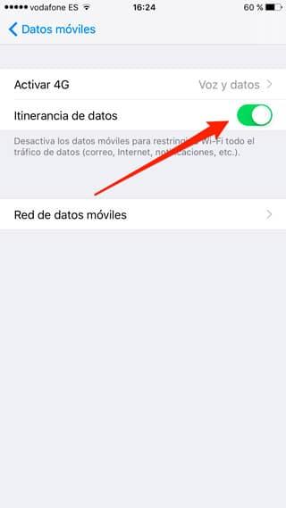 Activar itinerancia de datos