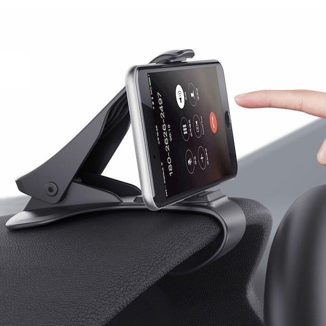 Soporte para iPhone con forma de pinza para el coche