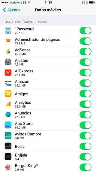 Comprobar consumo datos móviles de apps