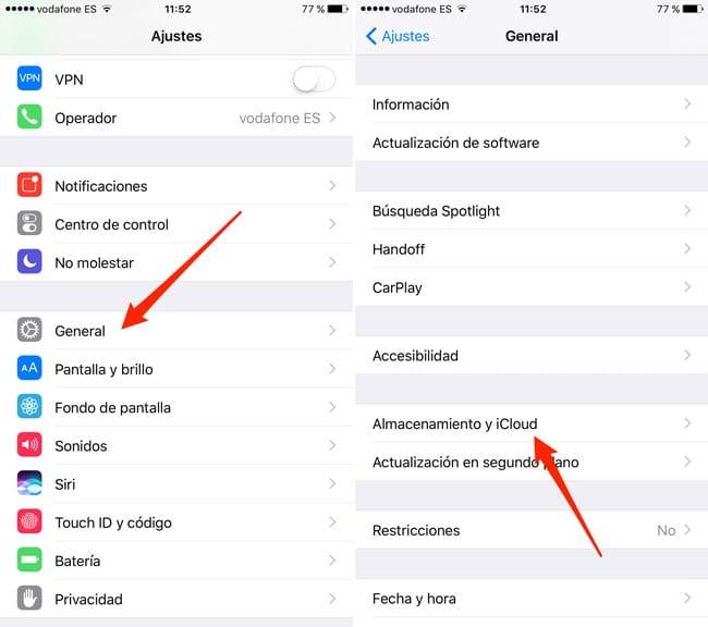 Gestionar almacenamiento iOS