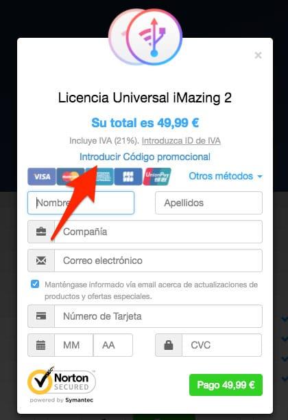 Introducir código iMazing