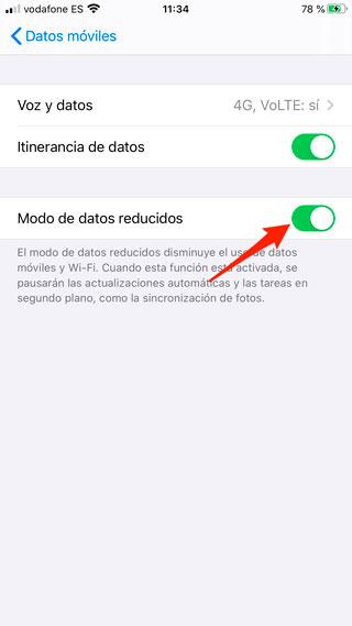 Modo de datos reducidos de iOS