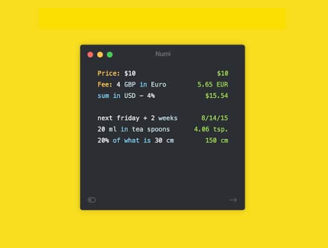Numi, calculadora y conversor de unidades/divisas para Mac