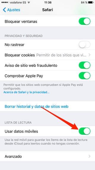 Usar datos móviles en la lista de lectura de Safari