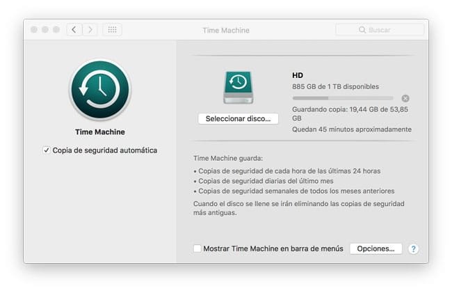 Activar copia seguridad Time Machine
