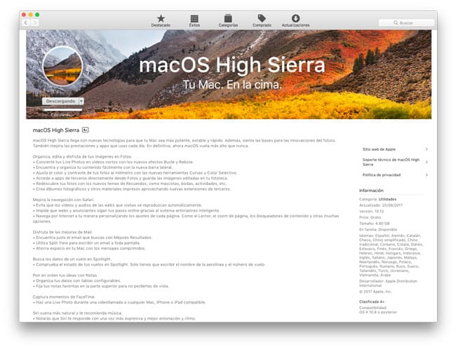 High Sierra en la Mac App Store