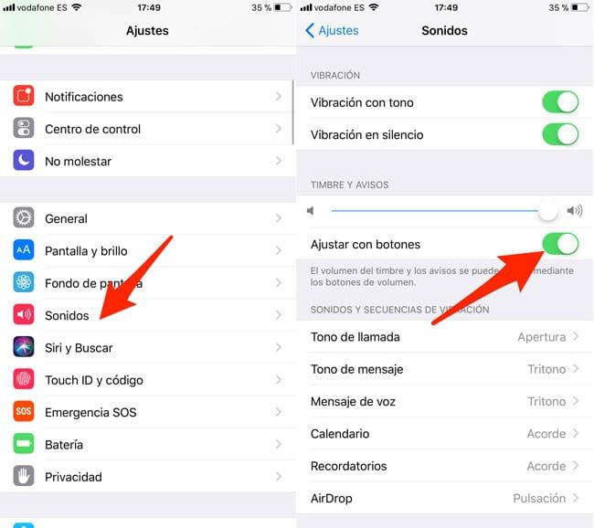 Activar con botones timbres y avisos en iOS 11