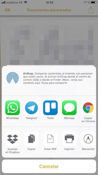 Compartir con otras apps