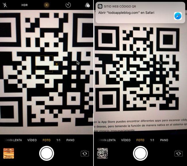 Leer códigos QR desde iPhone y iPad