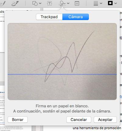 Crear firma con la cámara del Mac