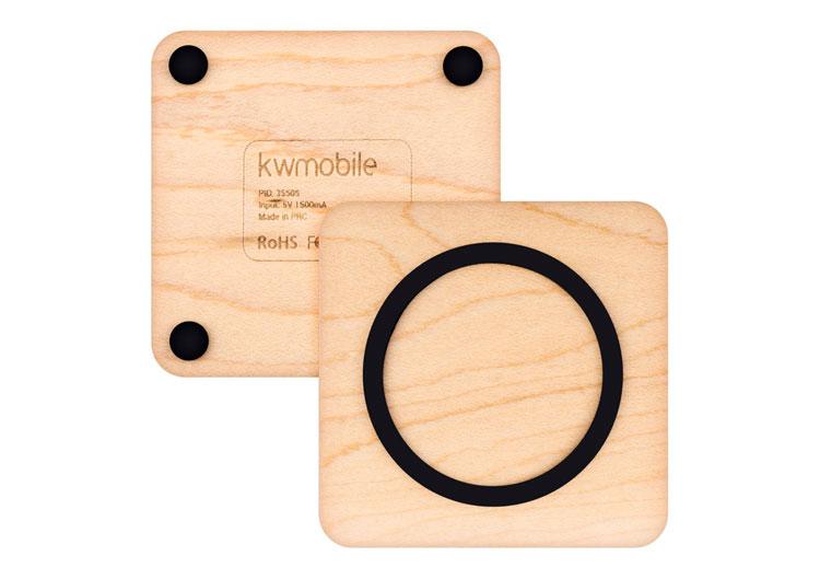 kwmobile Qi-cargador inalámbrico de madera