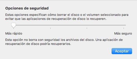 Opciones de seguridad de Utilidad de discos