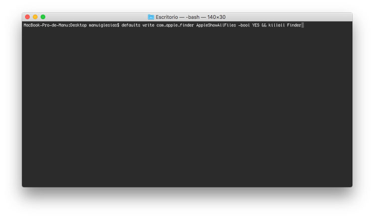 Comando para mostrar archivos ocultos en Mac